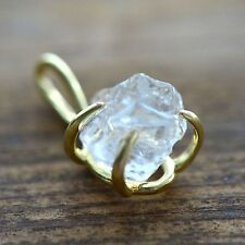 Rough Cut Crystal Pendant in 24K Gold Plated Claw Setting - Gemstone Jewelry