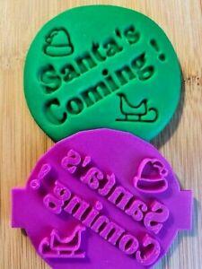 SANTA'S COMING CHRISTMAS Fondant Icing Cupcake Cookie Embosser Stamp - UK