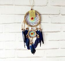 Rainbow rope colors-natural beige rope dream catcher with blue feathers-1QTY