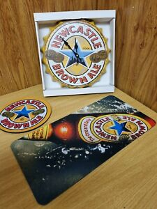 Newcastle Brown Ale Clock , Runner and large Round Drink Mat New