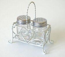 Salt & Pepper Ollas Vinagrera ollas de cristal conjunto en crema de Metal Soporte de corazón de desplazamiento