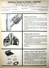 DURABLA Advertisement ASBESTOS Sheet Gaskets Pumps Valves 1966