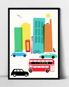 London Cars and Buses Cityscape Boys Room Poster