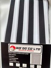 SUPERIOR BLACK/GREY & WHITE STRIPE SHOWER CURTAIN PLUS 12 LARGE ROUND HOOKS