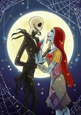 Jack & Sally in Love Nightmare Before Christmas 8x10 Craft Quilt Fabric Block