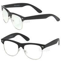 Clear Lens Fashion Eye Glasses Retro Horn Rim Nerd Geek Men Women Black Frame