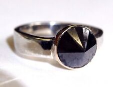 3.03CT Natural Black Diamond Upside Down Set Sterling Silver Ring Size 5.75