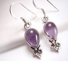 Purple Amethyst Earrings 925 Sterling Silver Dangle Drop New Corona Sun Jewelry
