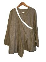 Bryn Walker Linen Wrap Top Womens Large Long Sleeve Lagenlook Brown