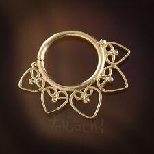 ARGENTO Placcato in Oro setto Anello per piercing da naso 1,2 mm 16g Mandala (codice 15)