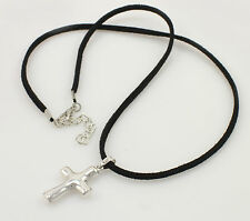 Genuine 925 Sterling Silver Plain Cross Pendant with Leather Chain