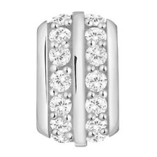Lovelinks Bead Sterling Silver,Two Tone Two Rows Clear CZ Charm Jewelry TT448CZ