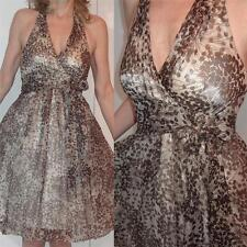 BCBG MAXAZRIA SHEER SHINY GOLD SILK HALTER WRAP DRESS MARILYN MONROE STYLE 0 XS