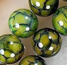 "Yellow Dragon Veins Agate Round Gemstone Loose Beads 15"" 8MM"