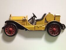 ☀️ Antique Sexton Cast Metal Iron YELLOW CAR Wall Decoration 1960 Collectible