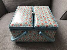 Cath Kidston Twin Lidded Sewing Basket / Box - Blue Provence Rose