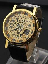 Reloj De Pulsera lujo Para hombres Para mujeres de hueco Esqueleto Mecánico De Acero Inoxidable-ORO