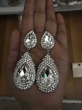 "3.5"" Long Drop White Silver Clear Rhinestone Crystal Wedding Pageant Earrings"