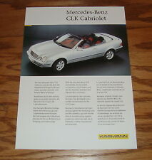 Original 1999 Karmann Mercedes Benz CLK Cabriolet Fact Sales Sheet Brochure 99