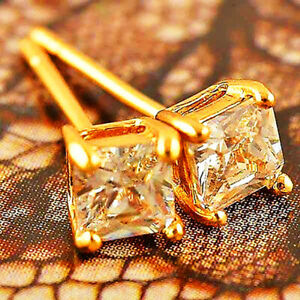 Cool Square Crystal Stone Stud Earrings Gold Earrings for Womens Mens Jewelry