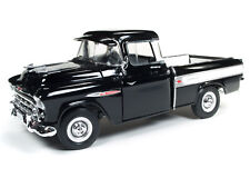 2018 AUTO WORLD 1:18 AMERICAN MUSCLE *BLACK* 1957 Chevy CAMEO Pickup 100 YEARS