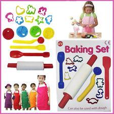 15 pcs Kids Girls Pastry Baking Set Bakeware Rolling Pin Craft Cutters Gift Box