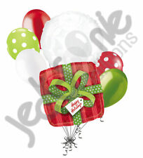 7 pc Happy Holidays Christmas Present Balloon Bouquet Party Decoration Gift