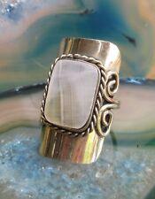 Anello alpaca argento agata bianco pietre Etnico Inca Maya indiana stile 50