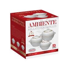 3pc Hot Pot Set WHITE Food Warmer Serving Insulated Casserole Pan Dish Bowl AMB