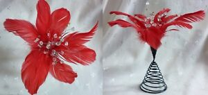 """New Red Feather Poinsettia on Black Spring w/Clear Bead Center - 8""""T x 8"""" W"""