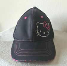 Sanrio Hello Kitty Baseball Cap Child Size Adjustable Black/Print Hoop and Loop