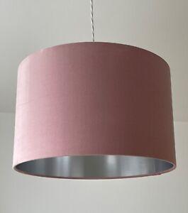 Lampshade Blush Pink Velvet Brushed Silver Drum Light Shade