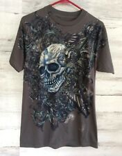 ROYAL KINGDOM GRAPHIC T SHIRT WITH SKULL ADULT MED (GRAY)