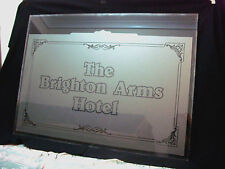 THE BRIGHTON ARMS HOTEL Reclaimed Vintage Frosted Bay Window Glass 41'' x 30''