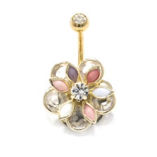 Gems Surgical Steel Piercing Jewelry 14G Belly Button Ring Gold Flower with Cz
