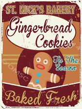 Saint Nicks Bakery Metal Sign, Christmas Gingerbread Men Cookies, Holiday Decor