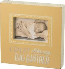 """NEW!~Wood Picture Frame~""""Crazy Like My Big Brother""""~Baby~Polka Dot~Sign~Yellow"""
