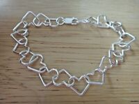 "7.5"" Sterling Silver 8g 12x10mm Heart Shaped Link Charm Bracelet Lobster Clasp"