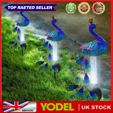 More details for vintage solar peacock light outdoor iron peacock animal rain gauge statue
