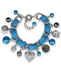 """Armband """"Alexa"""" blau, Kette mit versch. Anhängern, Herz Rose Schmetterling Perle"""
