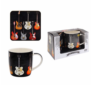 NEW & BOXED - Guitar Design Fine China Mug & Coaster Gift Set - Dishwasher Safe