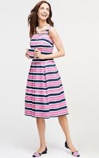 $170 NWT TALBOTS LADYS COTTON MULTICOLOR STRIPE FIT AND FLARE DRESS SIZE 14P