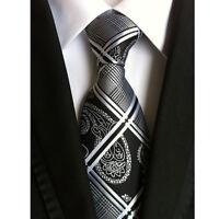 Men's Dark Black Grid Tie 100% Silk Jacquard Woven Formal Meeting Necktie