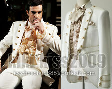 Military Uniform Victorian Noble White/Cream Wool Suit Jacket Custom-made
