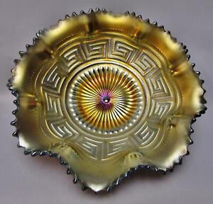 "C003 Northwood GREEK KEY / BASKETWEAVE Amethyst Carnival Glass Ruffled 8½"" Bowl"