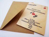 Personalised 5th Wedding Anniversary Card - Wooden card - Traditional Gift