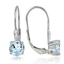 Sterling Silver 2ct TGW Blue Topaz 6mm Round Leverback Earrings