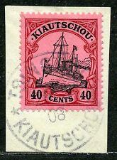 Kiautschou Mi 23  Kab.-Briefstück  Tsingtau  gepr.  120,-