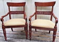 Pair Ethan Allen Georgian Court Dining Room Club Arm Chairs Set Lot of 2