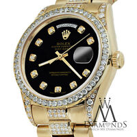 Rolex Presidential Day Date Tone Black Dial Diamond Watch 18 KT Yellow Gold